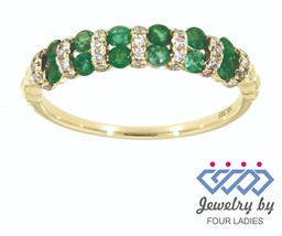 Emerald Birthstone 14K Yellow Gold 0.40CT Real Natural Diamond Fine Ring - $296.44