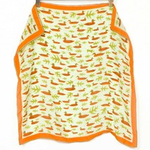 "Vera Neumann Duck Scarf VTG Square 21"" Leave Green Orange Womens Fashion - $34.54"