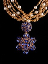 Vintage Napier statement necklace / 5 strand pearls - huge BLUE rhinesto... - $325.00