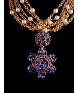 Vintage Napier statement necklace / 5 strand pearls - huge BLUE rhinesto... - $325.00