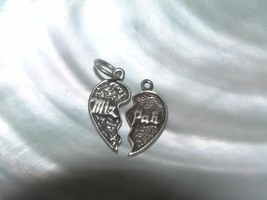 Vintage Sterling Silver Marked Broken Two Hearts with Religious Saying o... - $13.99