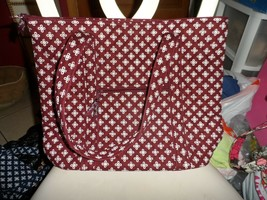 Vera Bradley Villager large zipper tote in mini concerto burgundy & white - $54.00