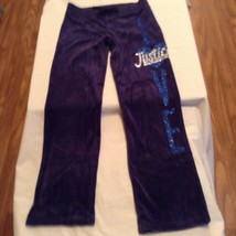 Size 8 Girls Justice pants yoga sweat pants exercise glitter blue - $13.99