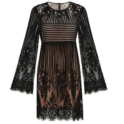 BCBG MAXAZRIA Black Luann Floral Stripe Lace Bell Sleeve Babydoll Mini Dress XS