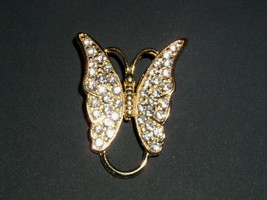 Butterfly Brooch Vintage 1950's 1960's Costume Jewelry Gold Diamond - $14.99