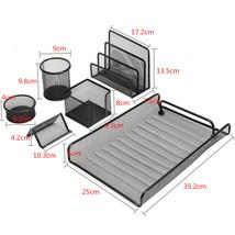 6 Pcs of Set Metal Mesh Office Desktop Organizer File Tray Pencil Storag... - $23.71