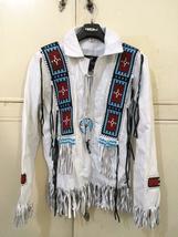 Men's New Native American Buckskin White Leather Beads Hippie Shirt & Pant WS72 image 3