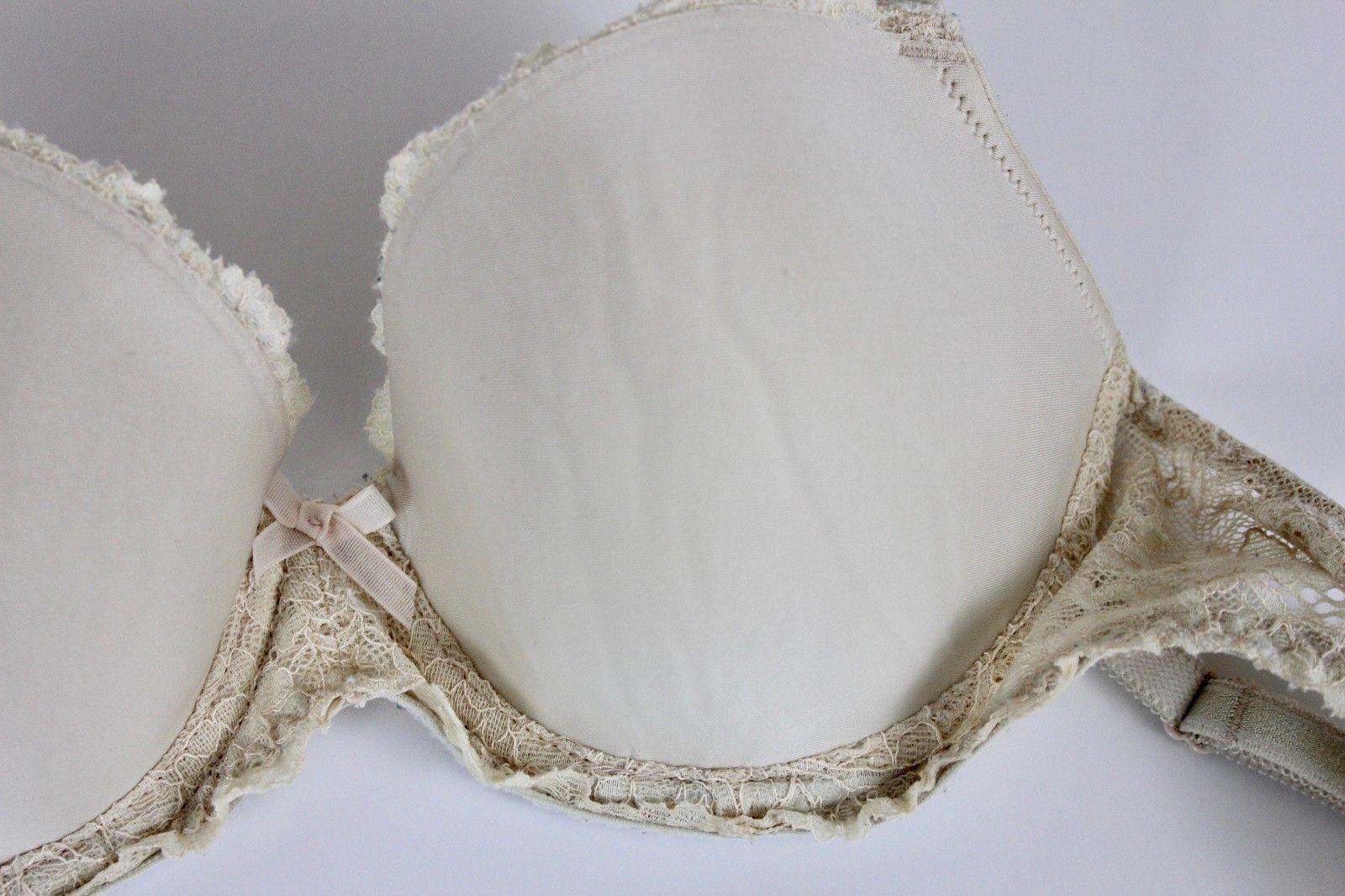 d98d690c1358 Victorias Secret 34C Dream Angels Lined Demi Nude Lace Bra Bow Underwire GUC