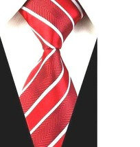 Mens Classic Wide Red/White Striped Silk Necktie Multicolor Stripes Tie ... - $7.30