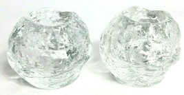 2 Kosta Boda Swedish Snowball Candle Tealight Scandinavian Art Glass Holder - $42.31