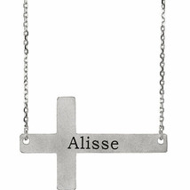"Engravable Sideways Cross 16-18"" Necklace In 14K White Gold - $296.99"