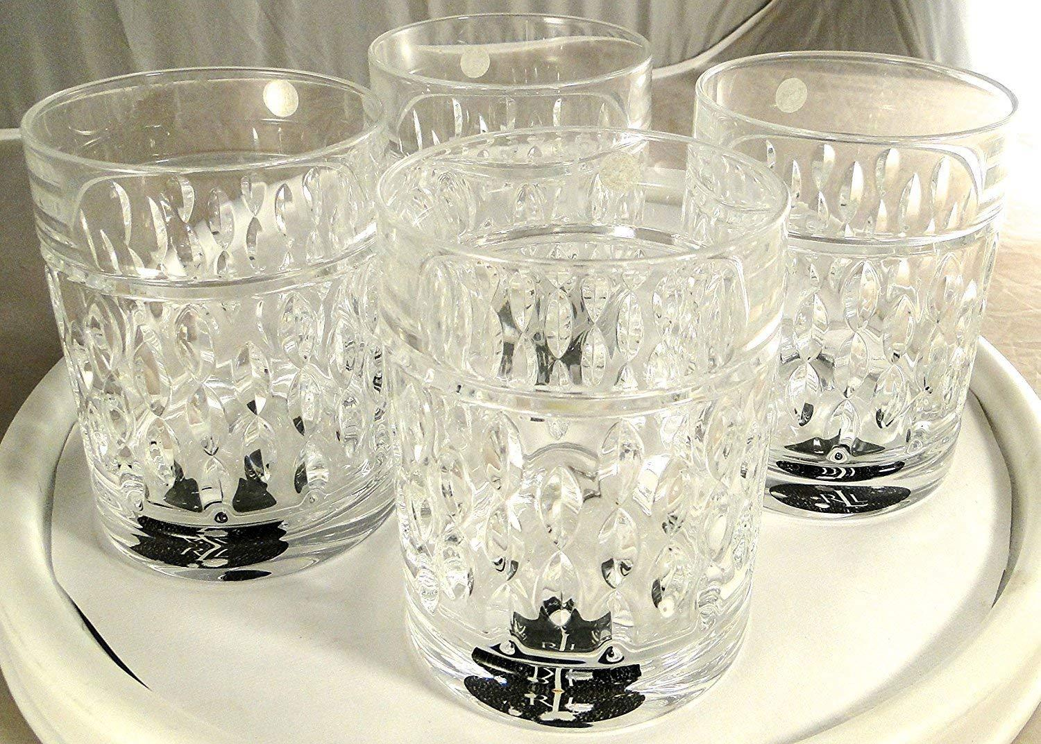 Ralph Lauren Aston Crystal Double Old Fashioned Glasses Set of 4