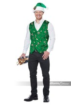 California Costume Holiday Vest Green Adult Mens Christmas Xmas Costume ... - $22.97