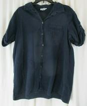 Avenue Size 18/20 Button Up Short Sleeve Black Shirt  - $13.85