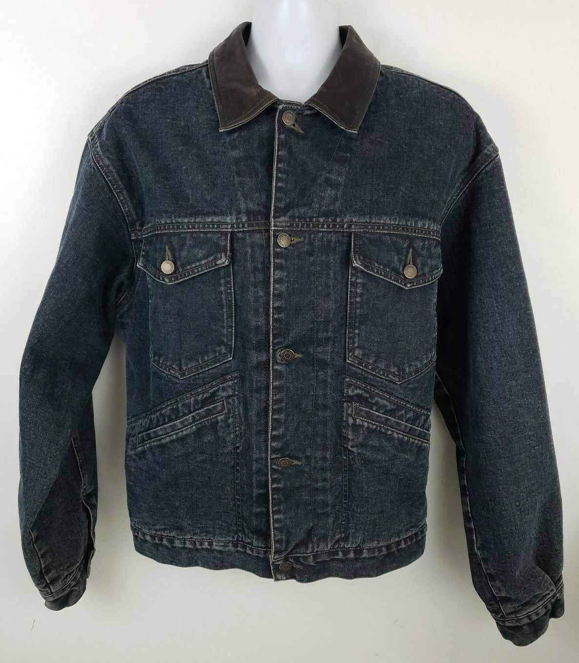 Primary image for Gap Premium Flannel Wool Lined Leather Trim Blue Denim Jean Trucker Jacket Sz M