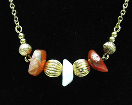 NECKLACE Rusty Red and White STONES  Vintage Goldtone Beads AVON Costume... - $14.99