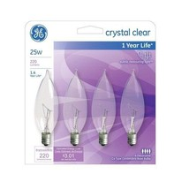2PK Ge Lighting 76234 25 Watt Crystal Clear Bent Tip Light 8 Count - $13.94