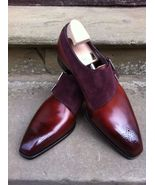 Handmade Men Wingtip Two tone formal shoes Men leather and Suede dress s... - $144.99+
