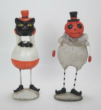 "Pumpkin Man & Black Cat Figurine Set 7"" Tall Tabletop Halloween Decor - $23.71"