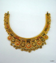 vintage antique 22kt gold necklace choker traditional handmade jewelry - $3,810.51