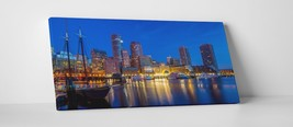"Boston Night Skyline Panoramic Stretched Canvas Print 45""x20"", 30""x16"" - $52.97+"