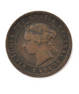1881 H 1c Canada Large One Cent Penny KM#7  Bronze  - $9.89