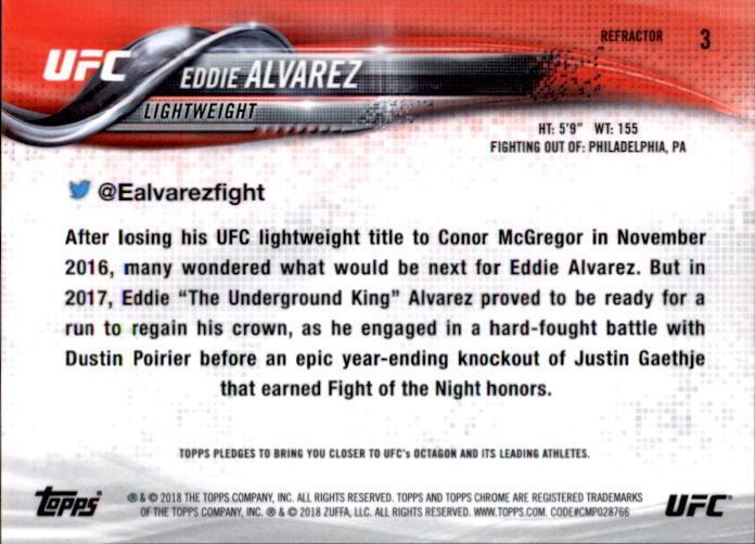 Eddie Alvarez 2018 Topps Chrome UFC Refractor Card #3