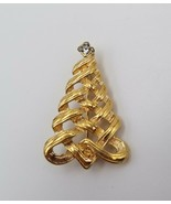 Vintage Avon Gold Tone Holiday Christmas Tree Pin Brooch with Rhinestone... - $12.86
