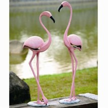 Large Set of 2 Tropical Rainforest Paradise Pink Flamingo Birds Garden S... - $556.99