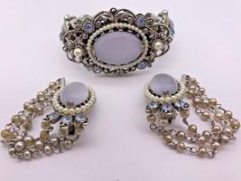 Selro Bracelet Earrings Vintage Blue Oval Faux Pearl Rhinestones Silver-... - $128.24