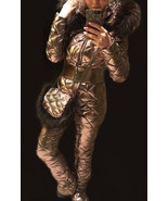 Man Woman Winter Ski Suit Overall Snow Silver Gold Metallic Argentum Out... - $370.00