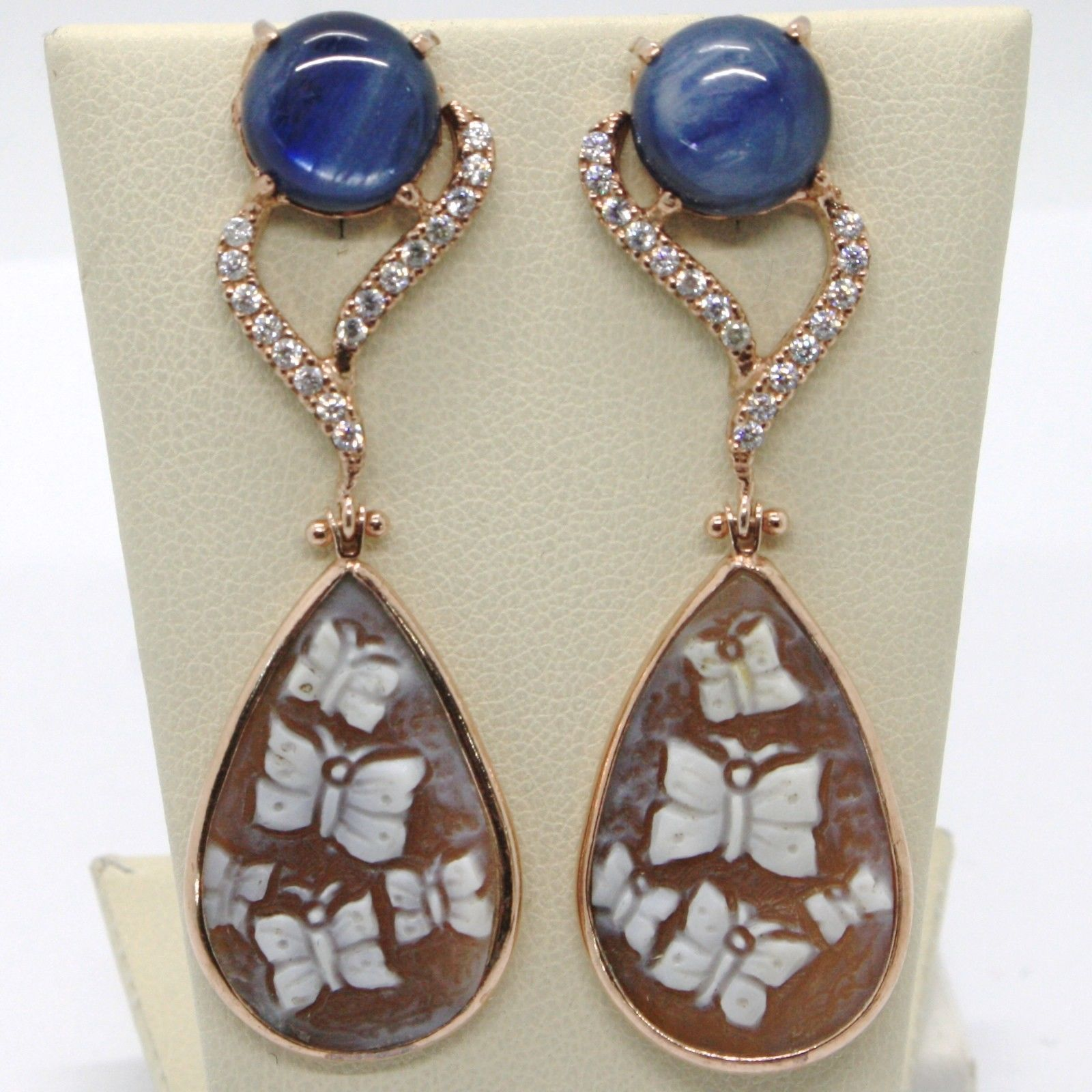 EARRINGS SILVER 925 CAMEO CAMEO WITH FLOWERS KYANITE AND ZIRCON MADE IN ITALY