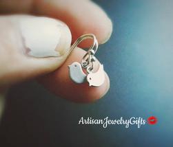 Hypo-Allergenic Tiny Bird Earrings Matte Silver Bird Earrings Minimalist... - $33.00