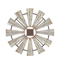Deco 79 Indoor/Outdoor Large Brown & Silver Metal Windmill Fall Summer, ... - $73.99