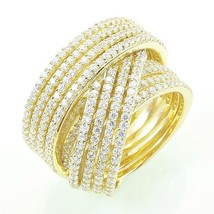 Pave Signity CZ Yellow Sterling Silver Pave 12 Row CrossOver Eternity Ba... - $169.99