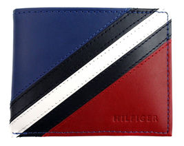 Tommy Hilfiger Men's Leather Wallet Passcase Billfold Red Navy 31TL22X051 image 5