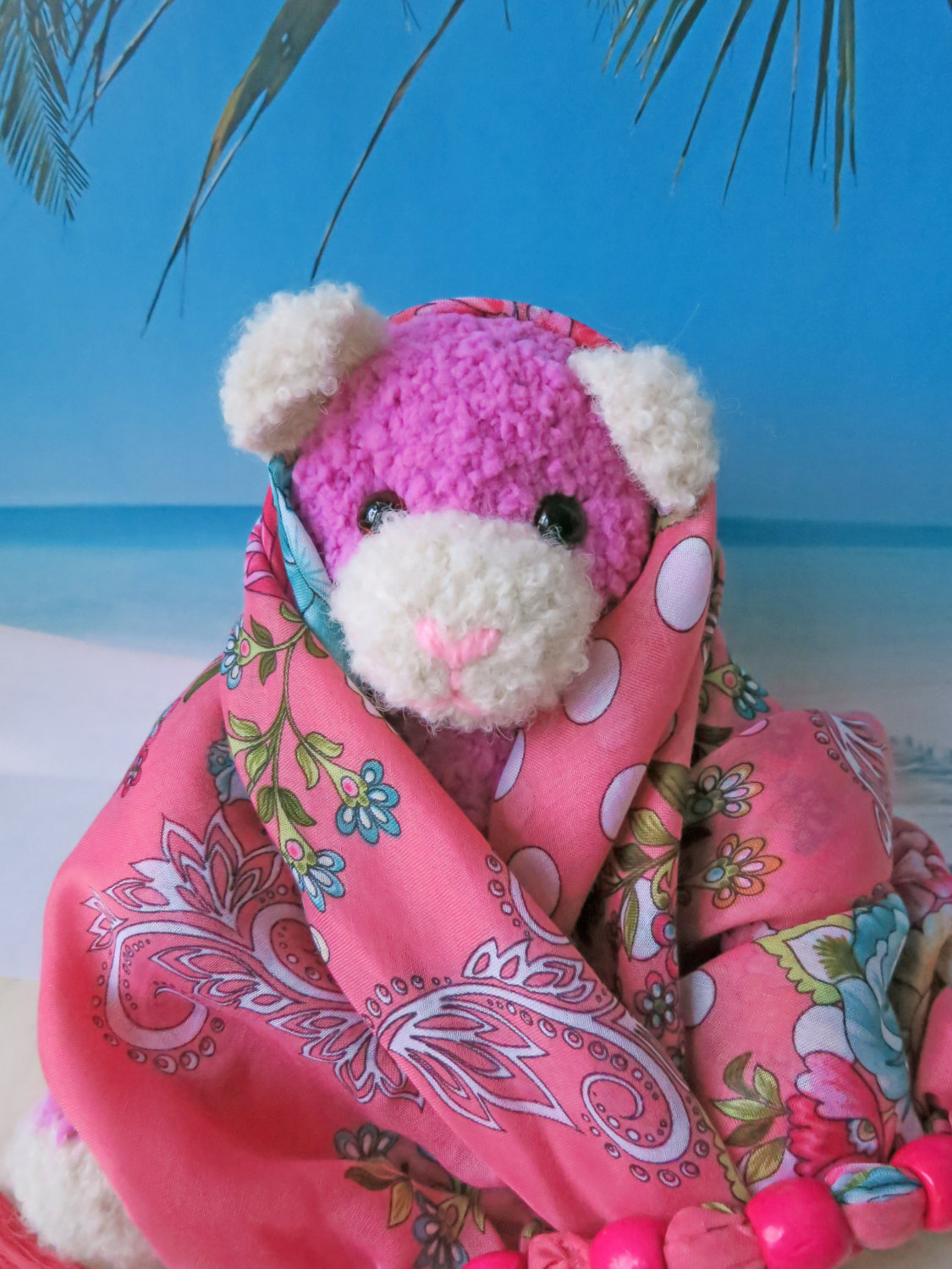 Handmade Fluffy Teddy Bear - collectible stuffed toy - OOAK - pink