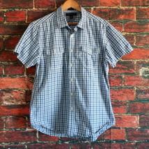 Tommy Hilfiger Shirt XL Blue Plaid Little Flag on Left Chest Pocket - $14.98