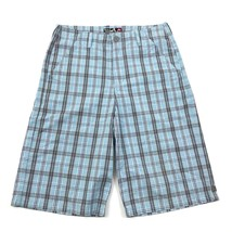 Quicksilver Chino Shorts Size 30 Waist Plaid Sky Blue Long Casual Flat Front - $17.31