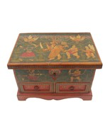 Handmade Box Fine Jewelry Box Wood Hand Painted Vintage Decorative Art - $532.00