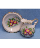 Vintage Homco Pitcher & Plate Peach with Gold Trim Creamer - $9.85