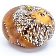 Handcrafted Carved Gourd Art Lion Big Cat Zoo Animal Ornament Made in Peru image 4