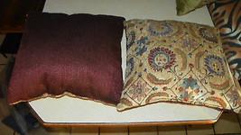 Pair of Beige Burgundy Flower Print Decorative Pillows  18 x 18 - $59.95
