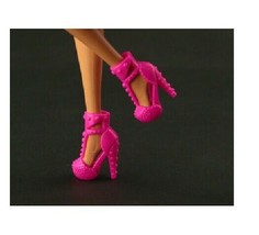 Barbie Similar Doll Yellow Bow Ankle Boot Strappy Hi Heel Platform Shoes