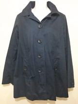L.L. Bean Womens S Navy Blue Hooded Jacket Sailboat Lining - $63.21