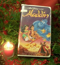 3 VHS Movies Disney Aladdin 1,2,3 + 3 Collectible Plastic Action Figures, Used - $8.41