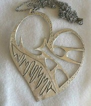 925 STERLING SILVER, BIG HEART, FINELY WORKED, WITH ROLO CHAIN, MADE IN ITALY image 1