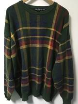 Vintage 1990's NAUTICA Green Plaid Cotton Crew Neck Sweater Men's Size XL - $21.77