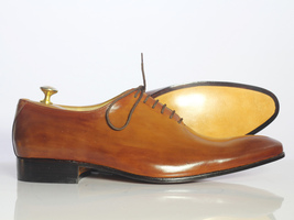 Handmade Men's Tan Leather Lace up Dress/Formal Oxford Leather Shoes image 3