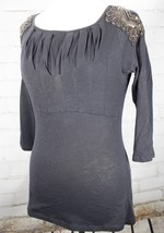 DELETTA TOP ANTHROPOLOGIE Embellished Beaded Shoulders Cotton Shirt Size... - $36.82